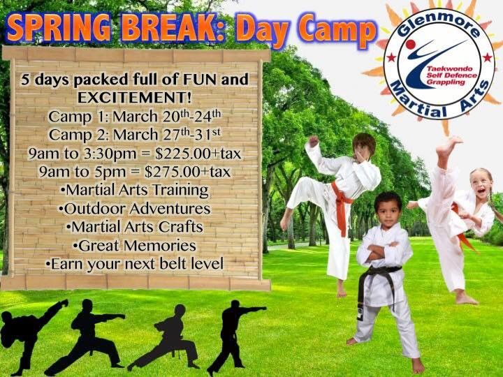 Don't forget next week we start our two Spring Break Day Camps. Very limited spots left, email or call for last minute placement.  #springbreak #camps #daycamps #glenmoremartialarts