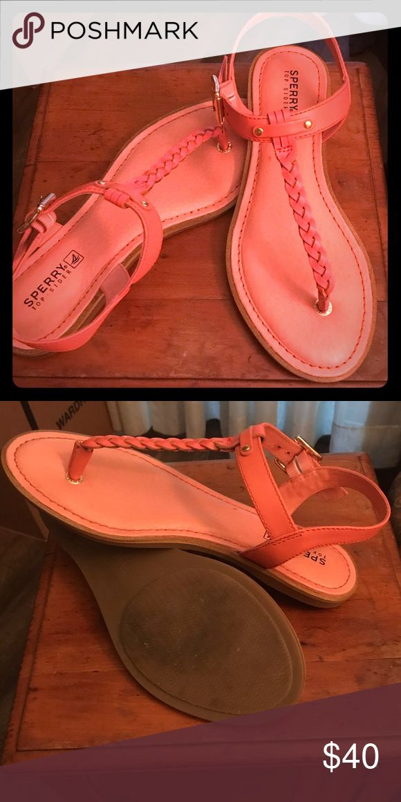 7.5 M Sperry Sandals. Pink/salmon color. Worn once Great braid detail (feeds into reinforced toe socket making them super durable).  With easy to adjust ankle straps.  Love them, but I need half a size larger! Sperry Top-Sider Shoes Flats & Loafers