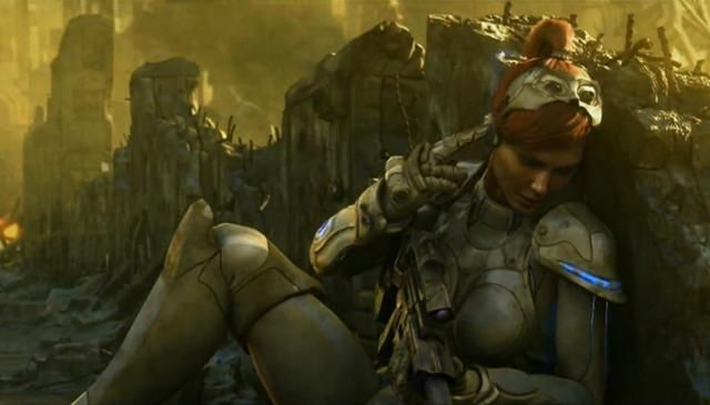 Starcraft: Sarah Kerrigan requesting evacuation at the Battle of New Gettysburg, in vain. Artist: Blizzard Entertainment.