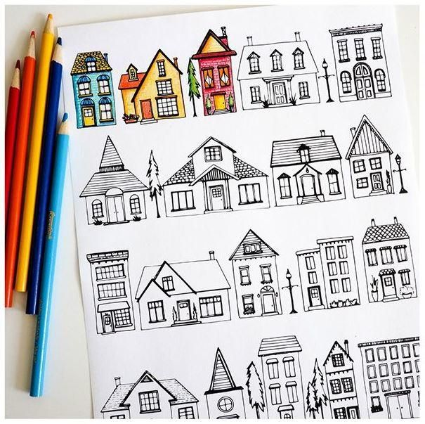 52 best Printable Coloring Pages images on Pinterest Coloring - best of row house coloring pages