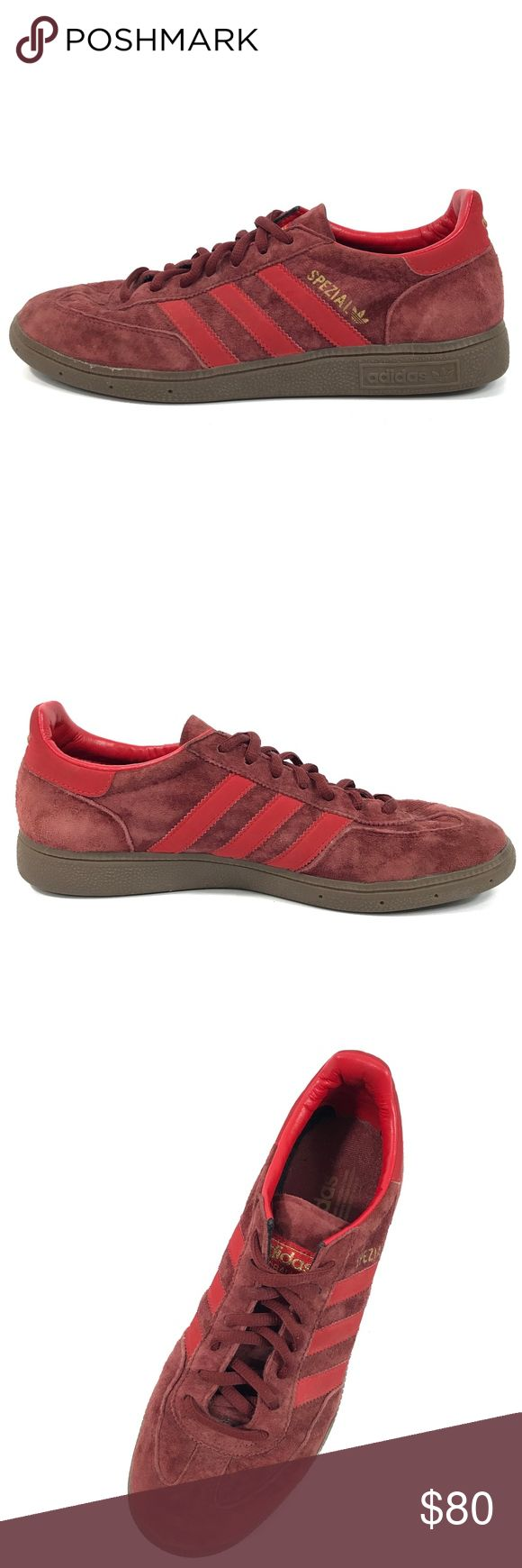 """2012 Adidas Handball Spezial 3 Stripe Suede Shoes GUC 2012 Adidas Mens Sz 8 Handball Spezial 3 Stripe Red Suede Sneakers #675001  Great used condition (9.3/10.0). No holes, rips, or stains. Minor signs of wear (scuffing """"Adidas"""" wording on left shoes, light marks on rear ankles). Suede, laces, and soles are in great condition and clean. Light furs in insoles. A storage item. See pictures for details.  Size - 8 US Color - Red Material - Suede / Leather Style - Low Top Athletic Sneaker Width…"""
