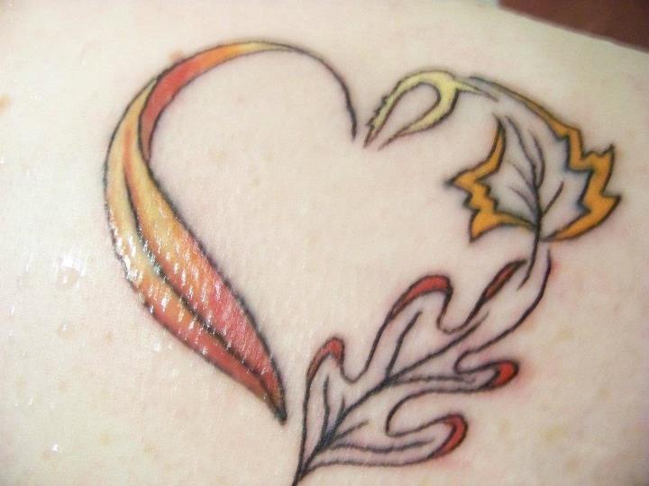 fall leaf heart tattoo, Autumn tattoo