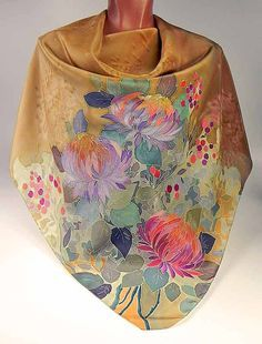 Silk scarf Autumn Flowers Batik handpainted on silk by lavanita
