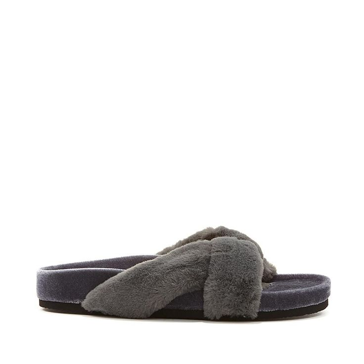 Wendy Williams Fuzzy Velvet Slipper Sandal - Blue