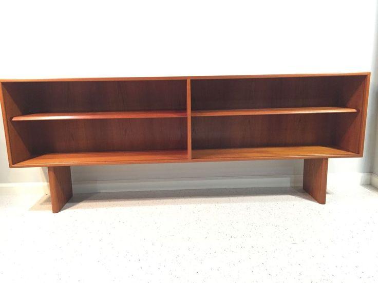 midcentury danish modern teak credenza hutch or bookcase