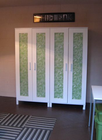 Basement Updates: Using Gift Wrap To Obscure Clear Doors | Young House Love