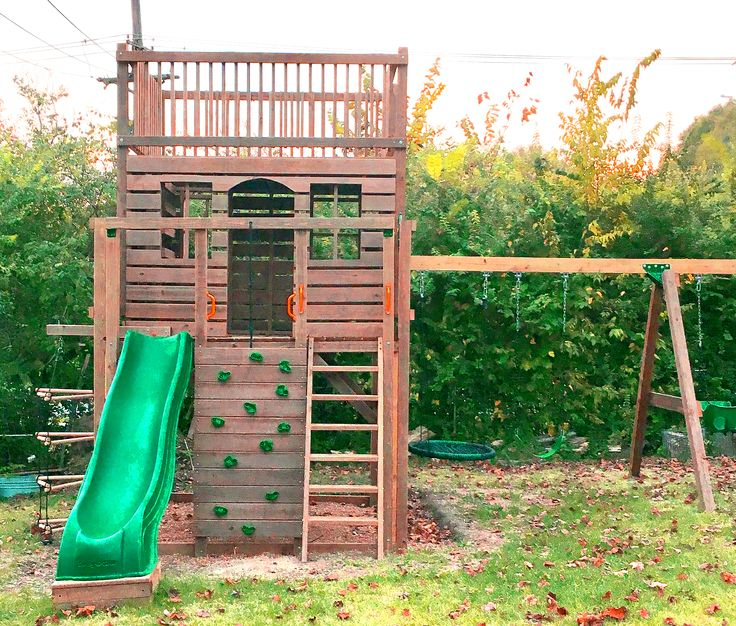 Three level DIY clubhouse anyone with a saw can build!  Download and start today.
