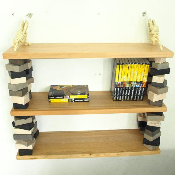 Rope and wood blocks three shelves unit  white black by MustHaveRo