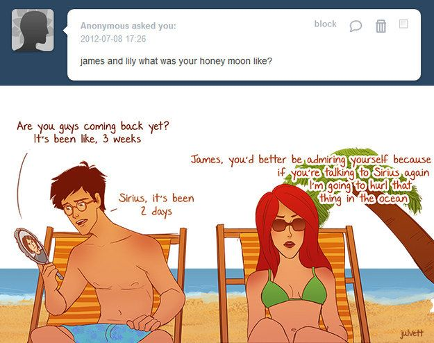"""Or their honeymoon…   These Hilarious """"Harry Potter"""" Comics Ask James And Lily Potter Questions"""