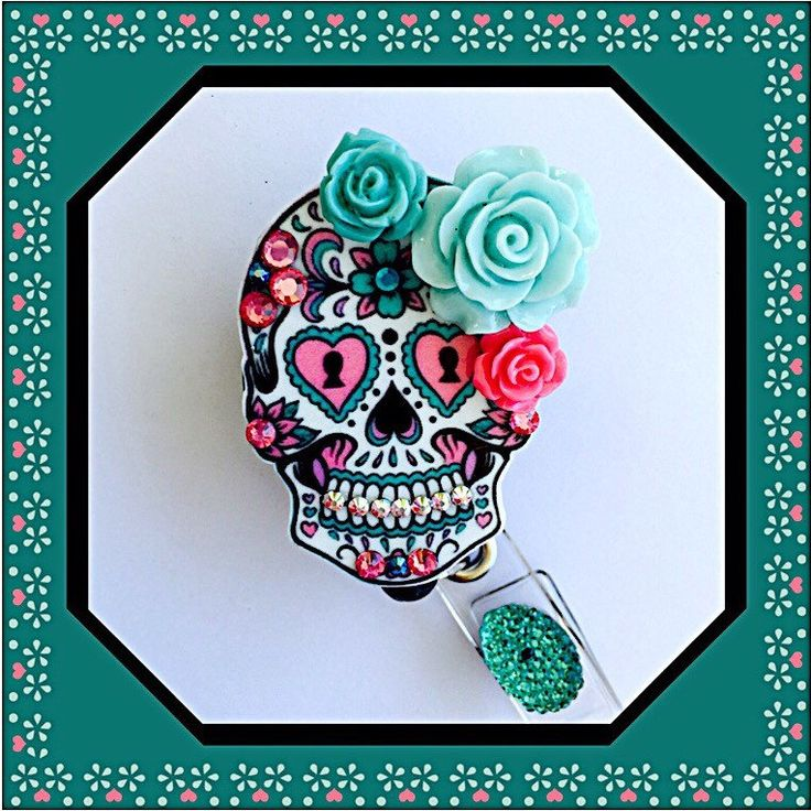 A personal favorite from my Etsy shop https://www.etsy.com/listing/231631690/sugar-skull-badge-holder