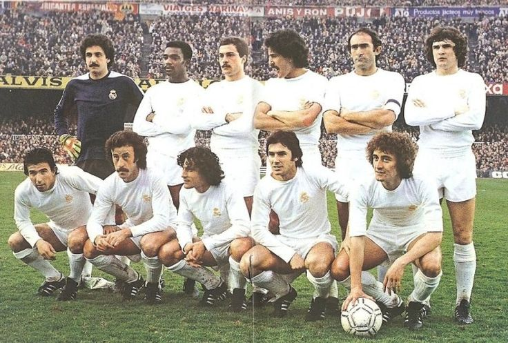 1979-De pie, de izquierda a derecha: García Remón, Cunningham, San José, Benito, Pirri, Camacho. Agachados, en el mismo orden: Juanito, Del Bosque, Ángel, Santillana, García Hernández.