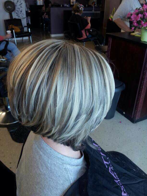 Bob Low Lights On Silver Hair Inverted Bob With