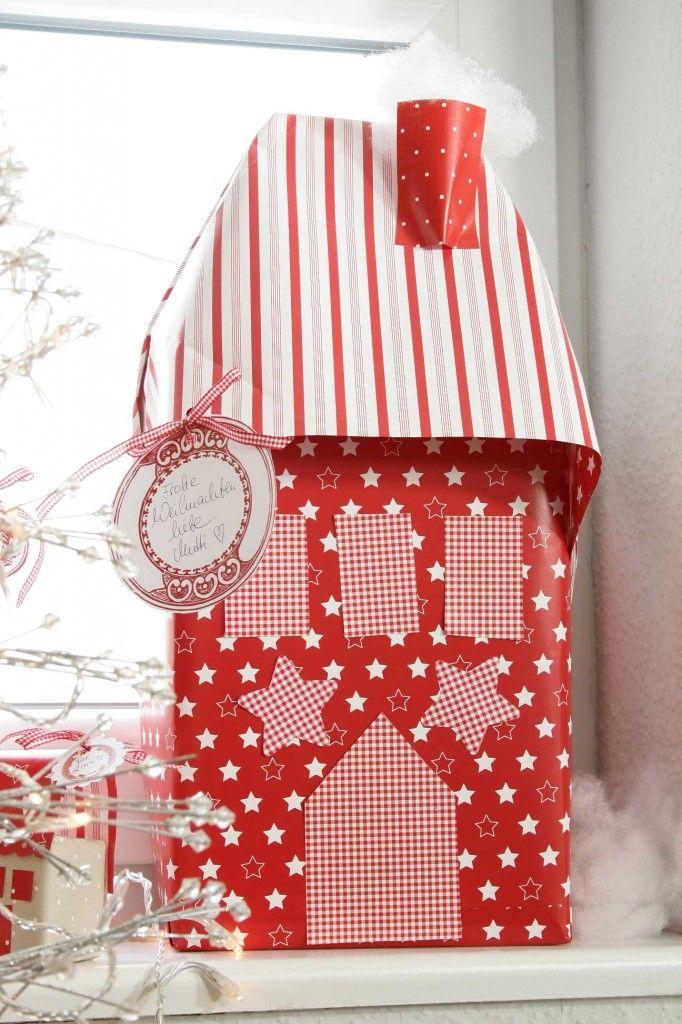 DIY Dezember acufactum Weihnachtsdorf Paket rot mit Sternen