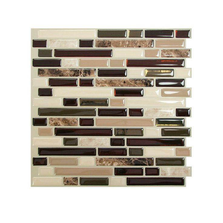 smart tiles bellagio keystone 1006 in w x 10 in h peel and stick self adhesive decorative mosaic wall tile backsplash - Tijdelijke Backsplash