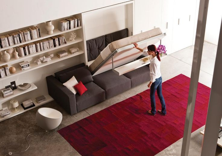 Furniture, The Large And Modern Bedroom With The Swing Modern Murphy Bed With Couch That Look So Comfortable With Large Red Carpet Also The Cushions And Floating Shelf For Storage ~ Design Your Minimalist Bedroom With The Modern Murphy Bed With Couch