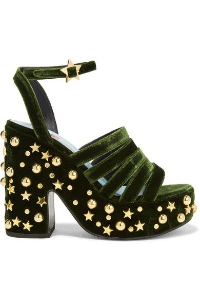 MR by Man Repeller - Lol If You Think I'm Walking Embellished Velvet Platform Sandals - Army green - IT