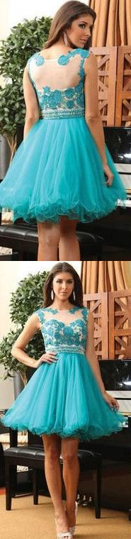 Tulle Homecoming Dress,Lace Homecoming Dress,Blue Homecoming Dress,Fitted Homecoming Dress,Short Prom Dress - 104