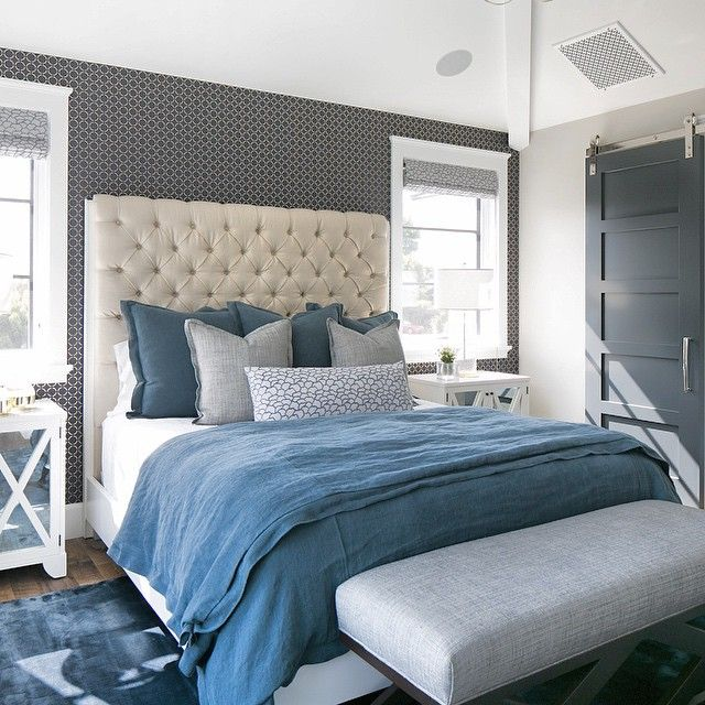Blue And Gray Linen Duvet And Shams, Transitional, Bedroom