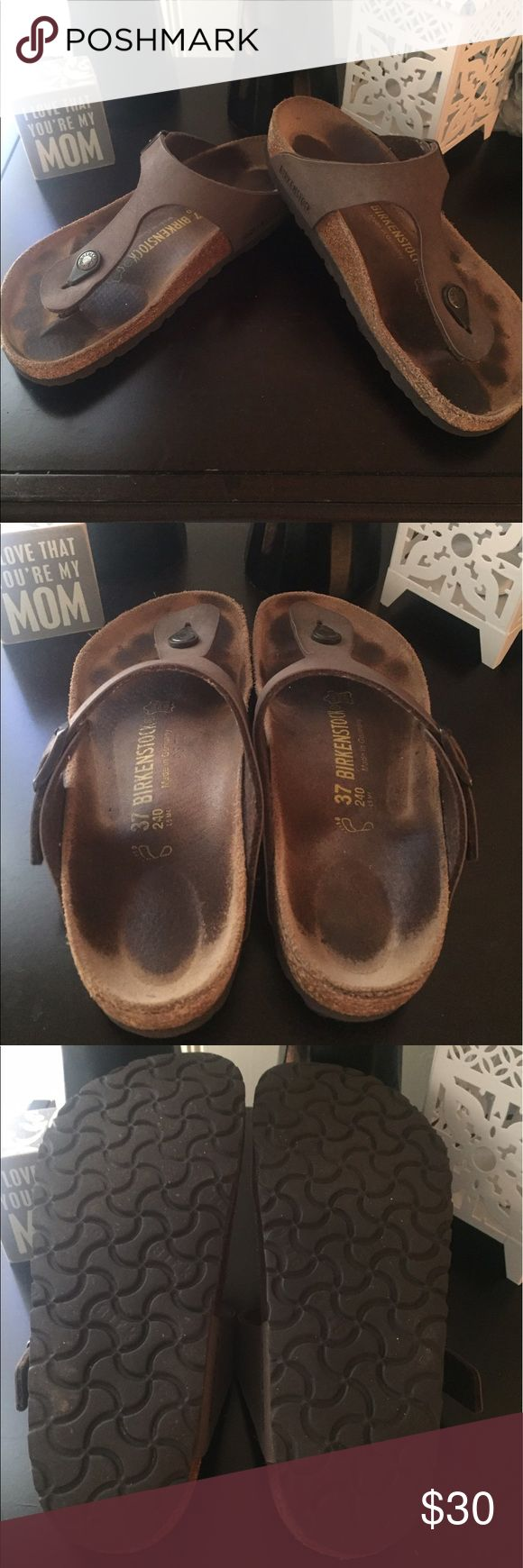 Birkenstock Gizeh mocca color size 37 This is a classic style that's very popular right now. Super comfortable. And these have A LOT of great wear in them! Birkenstock Shoes Sandals