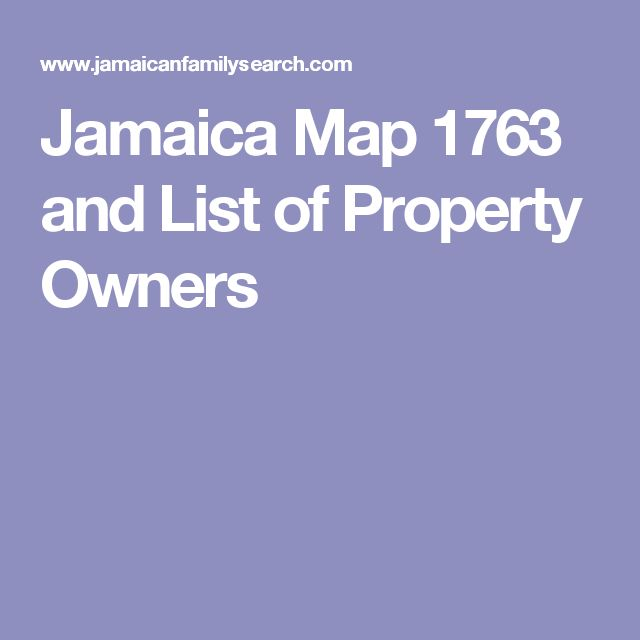 Jamaica Map 1763 and List of Property Owners