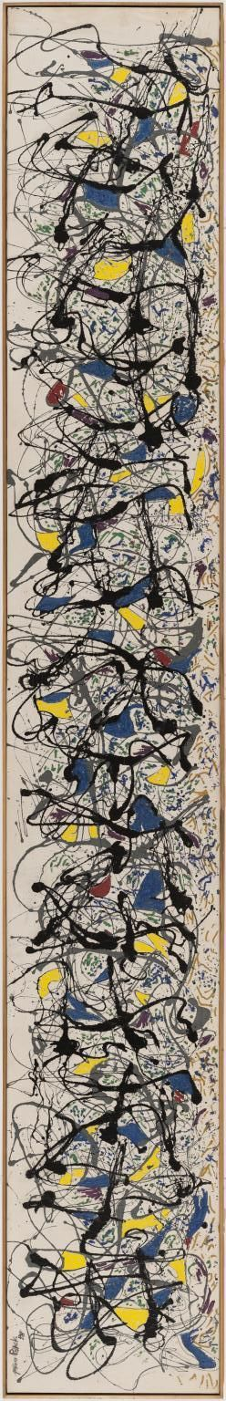 Jackson Pollock (1912-1956) was een van de invloedrijkste Amerikaanse kunstschilders die tot de abstract expressionistische school behoorde. De nadruk op de handeling van het schilderen noemt men action painting. De schilder liet de verf van zijn kwast in grillige slierten op grote op de grond liggende doeken druppelen. Vandaar de naam van dit soort werk: drippings. Deze dripping-techniek werd zijn handelsmerk.
