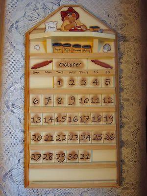 HP Handpainted Wooden Gingerbread Perpetual Wall Calendar