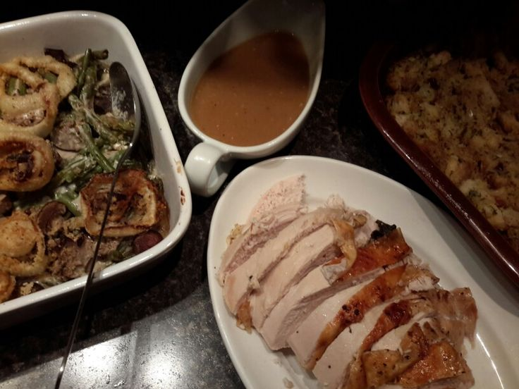 Succulent Turkey Breast, gravy and cornbread sage and cranberry ...