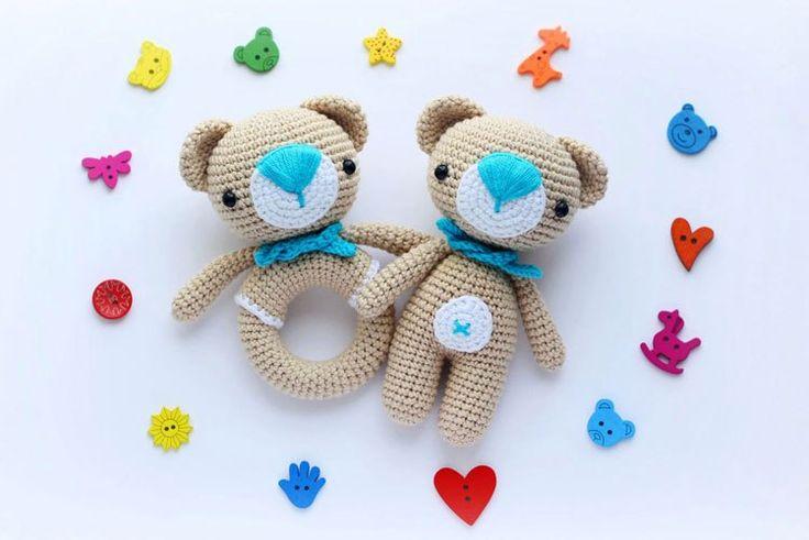 oso de peluche de Amigurumi y peluche sonajero - patrones de ganchillo gratis
