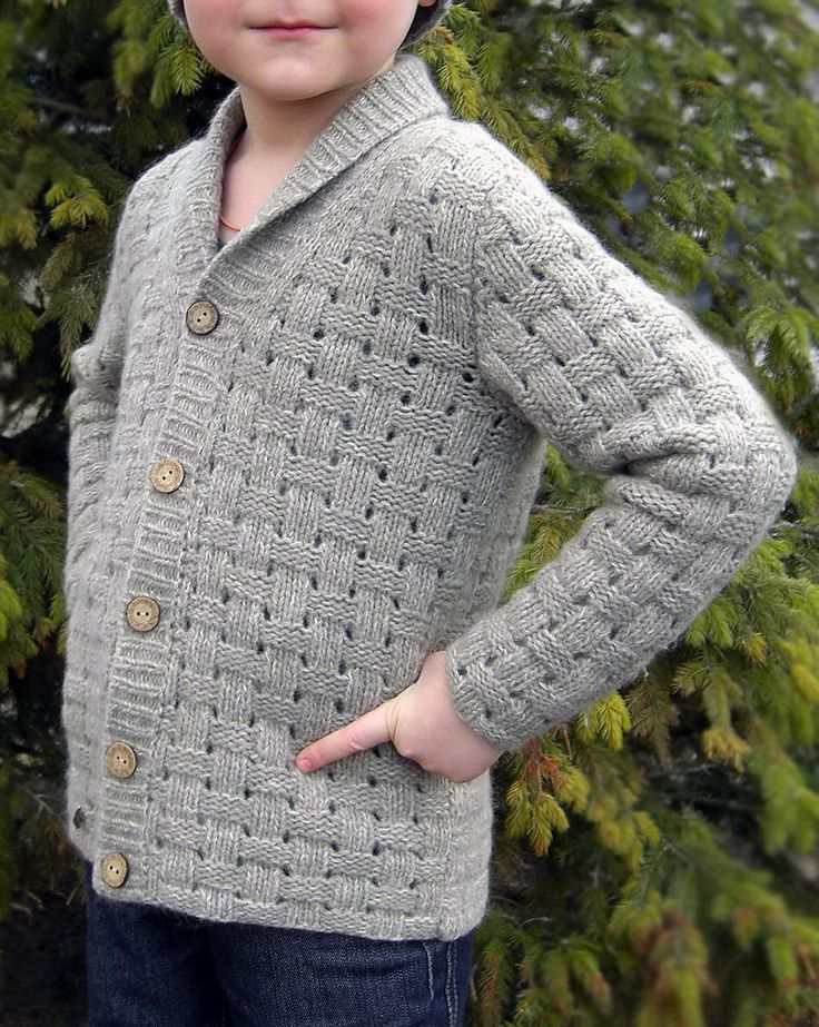 Free Knitting Pattern for Forest Walk Kid Sweater - Basketweave cardigan with shawl collar designed by by Darya Kuleshova & Aistė Butkevičienė. Size: 3 (4, 5, 6, 7) years. Available in English and Russian.