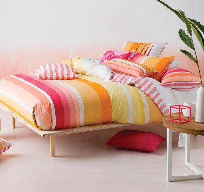 Linen House Montego Bay Quilt Cover Set Range Melon  <3