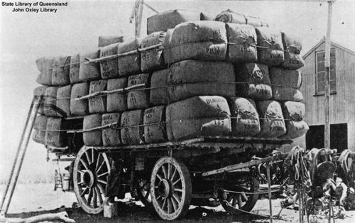 """The Table Top Wool Wagon is among the largest animal-drawn road vehicles ever built. It was a unique Australian invention, built to transport wool from sheep farms to train stations and harbours. As many as forty bullocks, or thirty horses, pulled the vehicles over distances of up to 1600 km. Table Top Wool Wagons (also known as """"jinkers"""" or """"ships of the desert"""") appeared at the end of the nineteenth century and remained in use until the (continues on page)"""