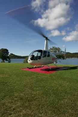 Helicopter Landing at Amora Lake Resort Okawa Bay, Rotorua  New Zealand
