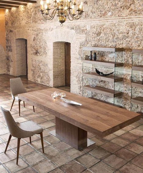Porto Lujo Torrox Modern Walnut Top Dining Table Base In Various Finish Options
