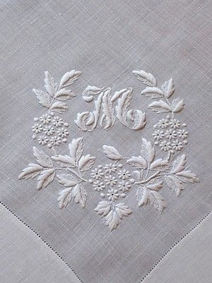 Em's Heart Antique Linens -Antique Linen Monogrammed Italian Embroidered Hanky