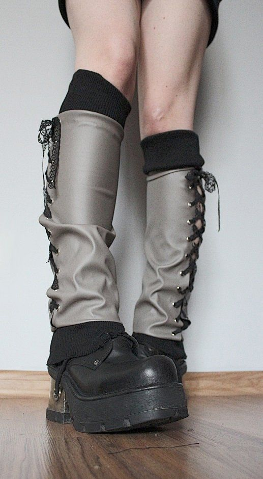 """--> STRICTLY LIMITED TO A SINGLE PAIR!!! <--Grey legwarmers made of faux leather.Decorative lacing.Calves: up to 34 cm (13"""")Lenght: 45 cm (18"""") - they can be worn by a s..."""