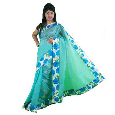 Aqua Printed Net  Saree  with blouse By SHRE Sarees on Shimply.com