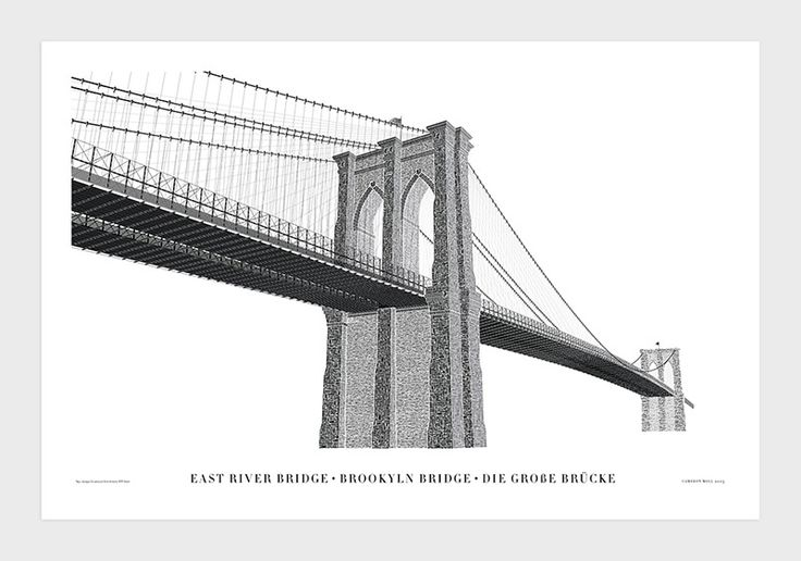 Cameron Molls Typographic Letterpress Print of the Brooklyn Bridge typography posters and prints New York letterpress Brooklyn Bridge bridge...