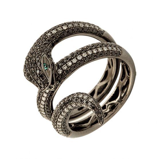 """Кольцо """"Змейка"""" с черными бриллиантами [3/4469718], ювелирные салоны Jolie"""