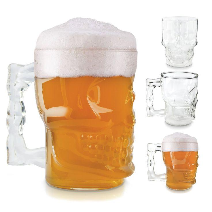 VENKON   Schädel Bierglas Im Totenkopf Design Kristallschädel Piraten Glas      Für Weißbier, Kölsch, Pils, Alt, Dunkelbier