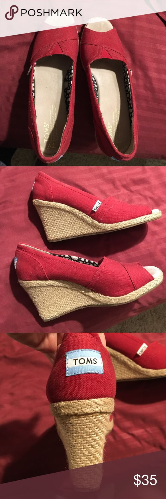 TOMS wedges super clean. Red toms wedges TOMS Shoes Wedges
