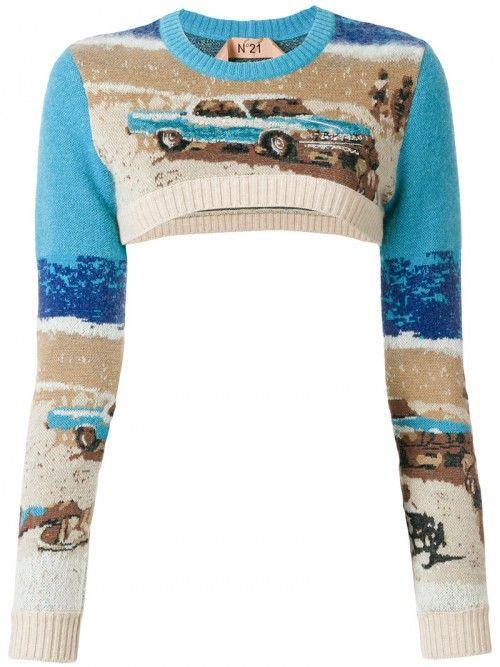 No21+Cropped+Slim+Fit+Jumper+Women+Wool+Mohair+Nylon+Polyester+40+Wool+Mohair+Nylon+Polyester