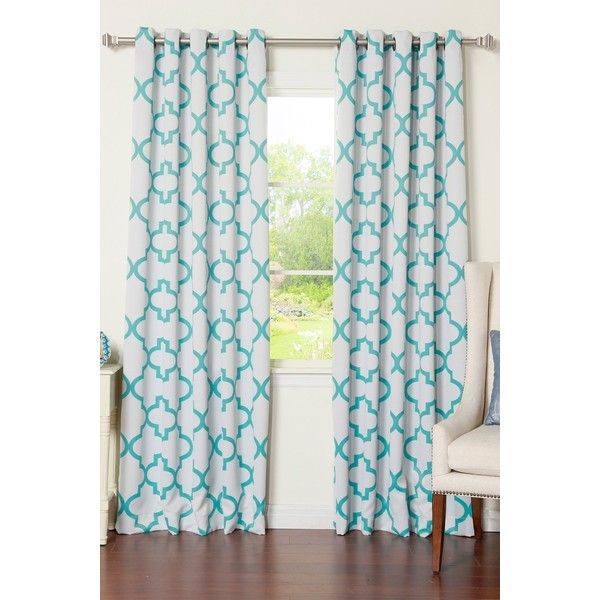 Best Home Fashion Inc. Reverse Moroccan Tile Printed Room Darkening... ($65) ❤ liked on Polyvore featuring home, home decor, window treatments, curtains, blue, blue grommet panels, grommet window treatments, woven curtains, blue draperies and blue home decor