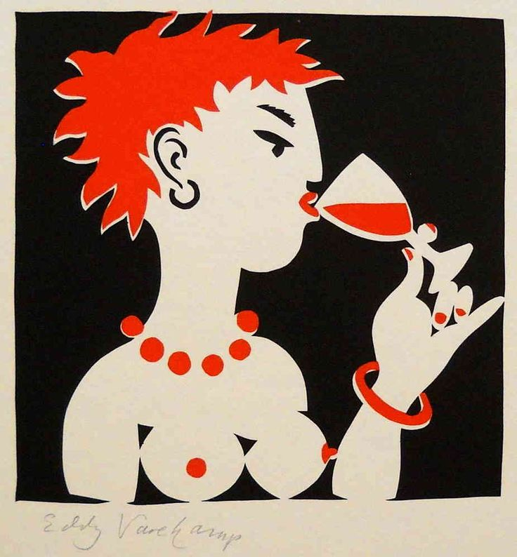 Stencilprint, lady drinking a glas of wine