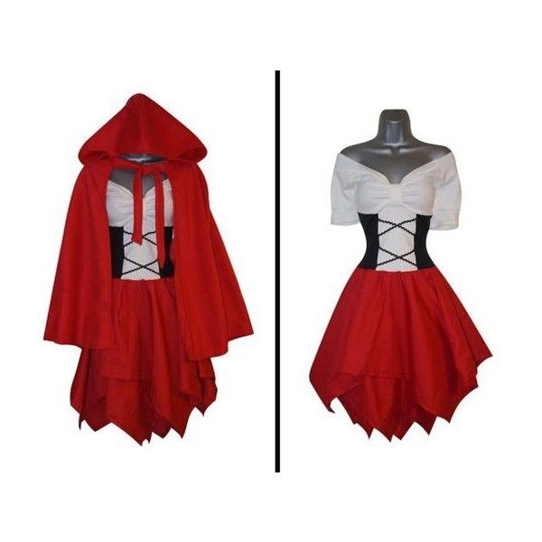 Steampunk Adult Little Red Riding Hood Cape Fancy Dress (UK 12) (US 8)... ❤ liked on Polyvore featuring costumes, party halloween costumes, adult fairy costume, adult women halloween costumes, sexy halloween costumes and adult women costumes
