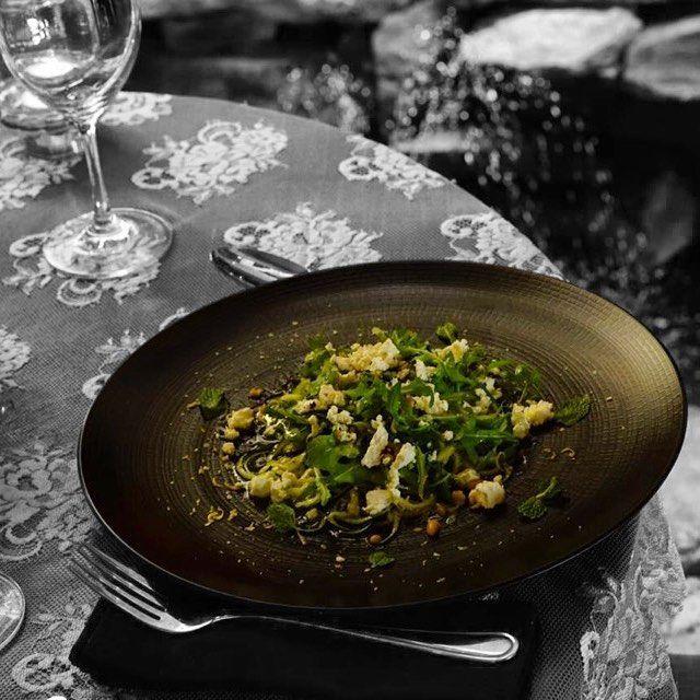 #bali #restaurant #bar #food #foodporn #interior #decor #antique #lunch #dinner #italian #italianfood #cozy #unique #zuchini #mint #lemonzest #extravirginoliveoil #feta #pinenuts #insalatadizuchine #lasiciliabali