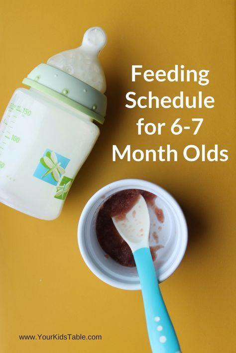 Complete feeding schedule for 6-7 month old babies with helpful tips and strategies for parents from a feeding therapist and three time mom.