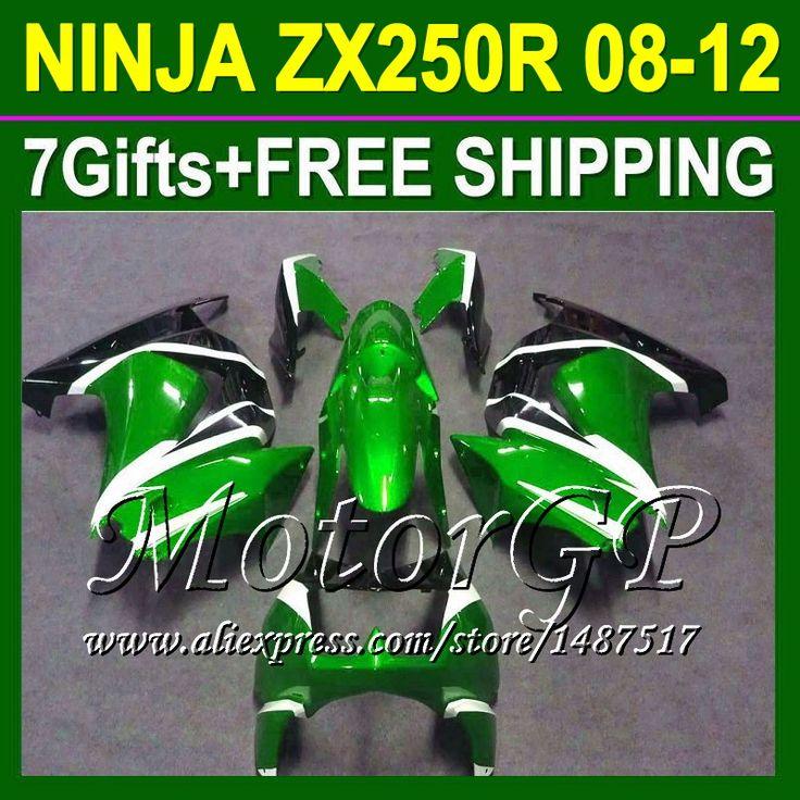 Купить товар7 подарки для Kawasaki ниндзя 250r зеленый черный 08 09 10 11 12 ZX250 ZX 250 16 # 167 2008 2009 2010 зеленый ZX250R зализа в категории Щитки и художественная формовкана AliExpress.