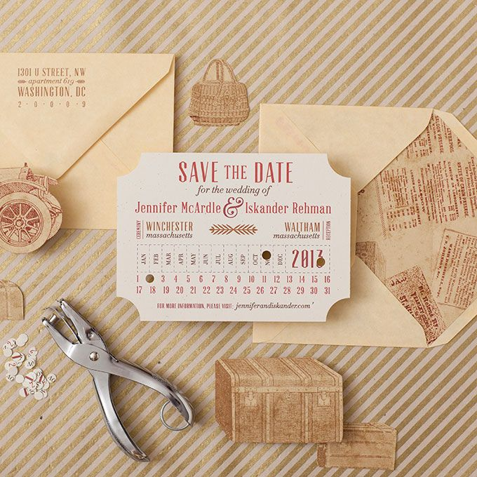 """Brides.com: . """"Vintage Train Ticket"""" digitally printed notched save-the-date, $950 for 100, Suite Paperie"""