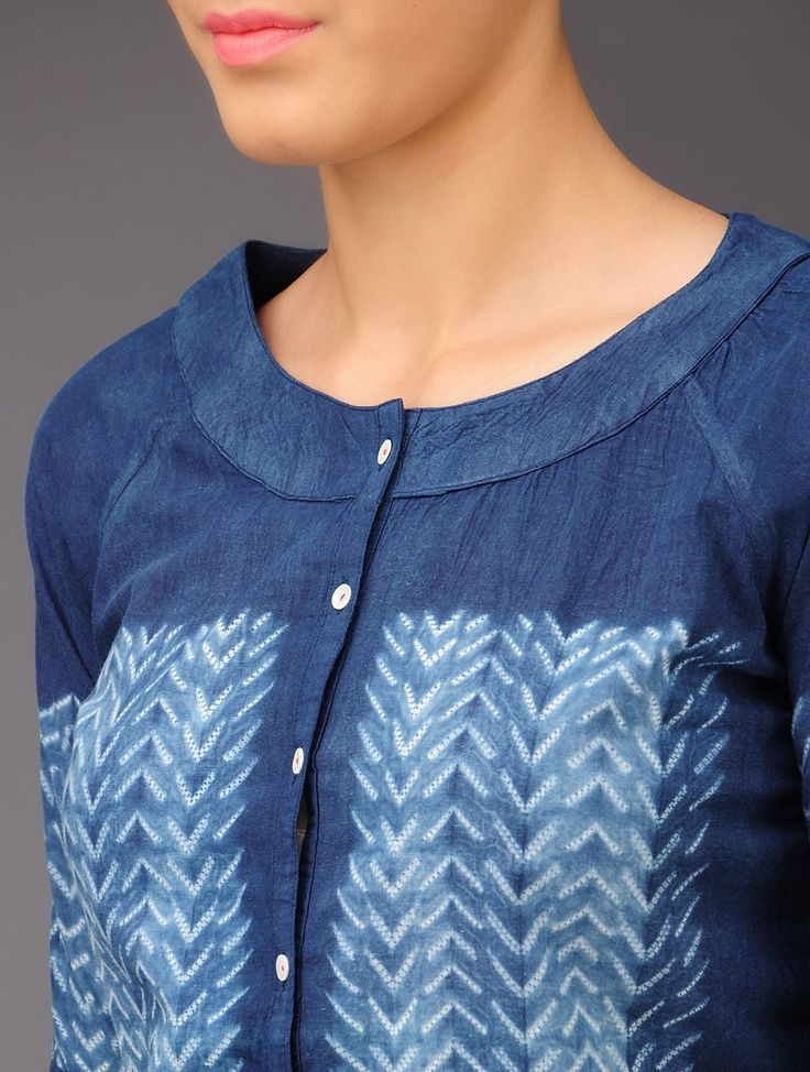 Indigo Chevron Shibori-Dyed Cotton Top - Buy Apparel > Tops & Dresses > Indigo Chevron Shibori-Dyed Cotton Top Online at Jaypore.com