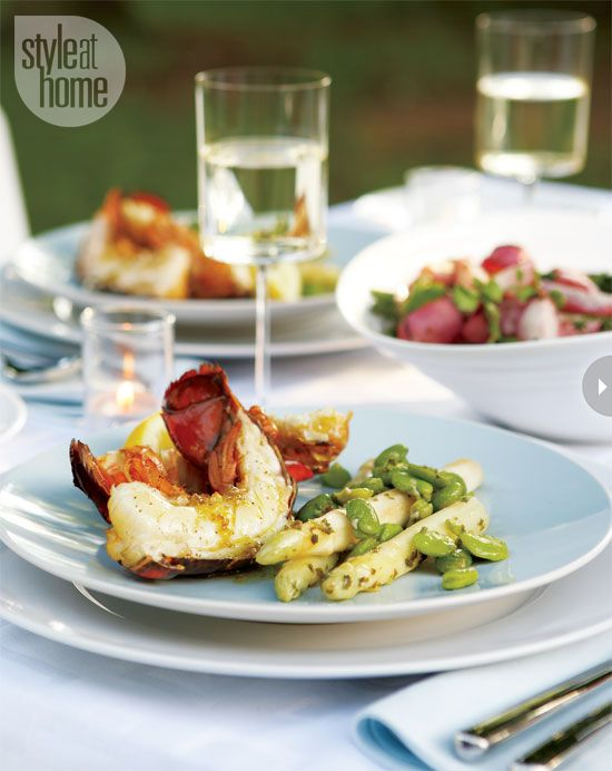 Cedar- planked lobster tails with spicy lemon jalapeno vinaigrette